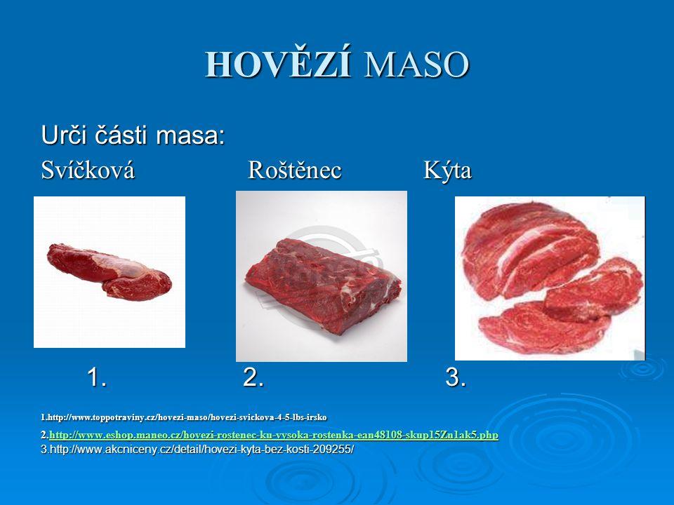 HOVĚZÍ MASO Urči části masa: Svíčková Roštěnec Kýta 1.2.3.