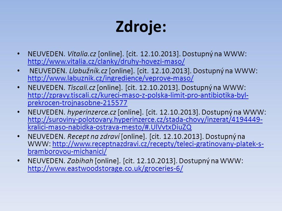 Zdroje: NEUVEDEN. Vitalia.cz [online]. [cit. 12.10.2013].