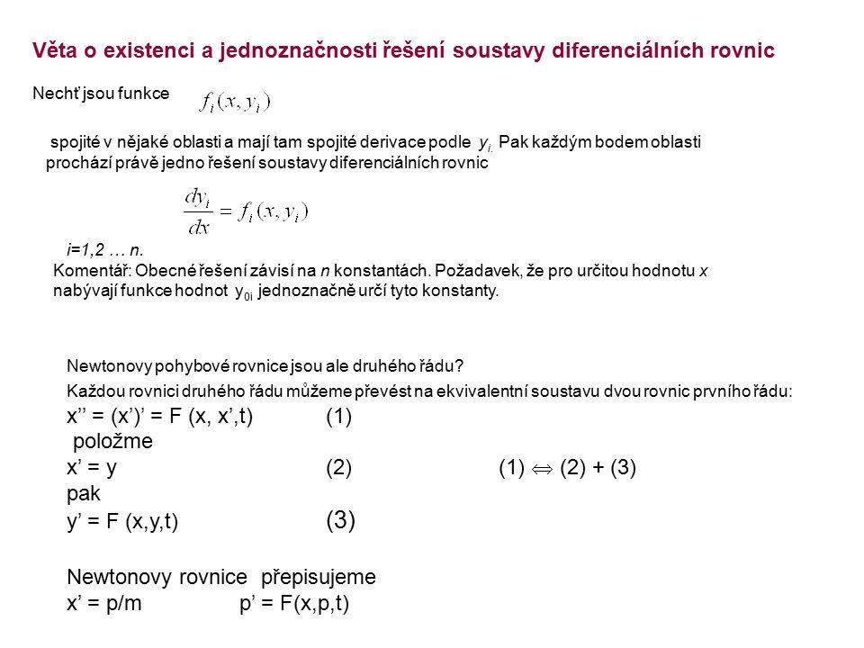 Věta o existenci a jednoznačnosti řešení soustavy diferenciálních rovnic Nechť jsou funkce spojité v nějaké oblasti a mají tam spojité derivace podle y i.