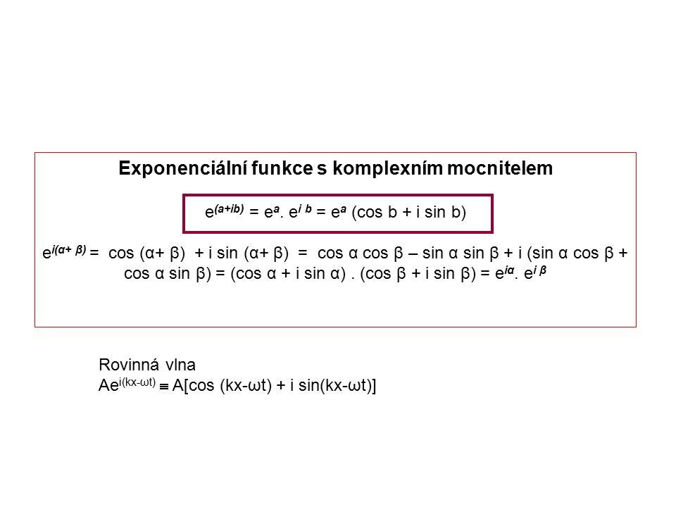 Exponenciální funkce s komplexním mocnitelem e (a+ib) = e a. e i b = e a (cos b + i sin b) e i(α+ β) = cos (α+ β) + i sin (α+ β) = cos α cos β – sin α