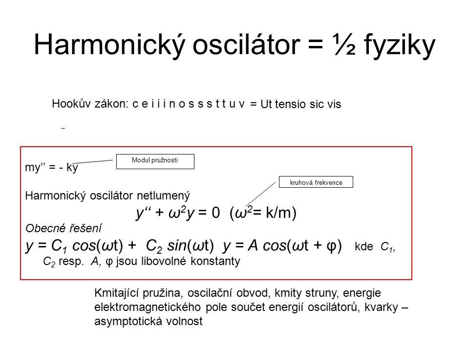 Harmonický oscilátor = ½ fyziky my'' = - ky Harmonický oscilátor netlumený y'' + ω 2 y = 0(ω 2 = k/m) Obecné řešení y = C 1 cos(ωt) + C 2 sin(ωt) y =