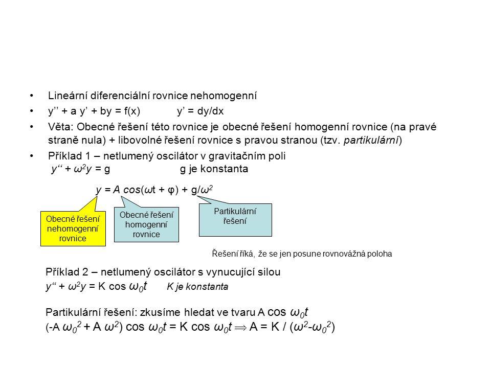 Lineární diferenciální rovnice nehomogenní y'' + a y' + by = f(x)y' = dy/dx Věta: Obecné řešení této rovnice je obecné řešení homogenní rovnice (na pravé straně nula) + libovolné řešení rovnice s pravou stranou (tzv.