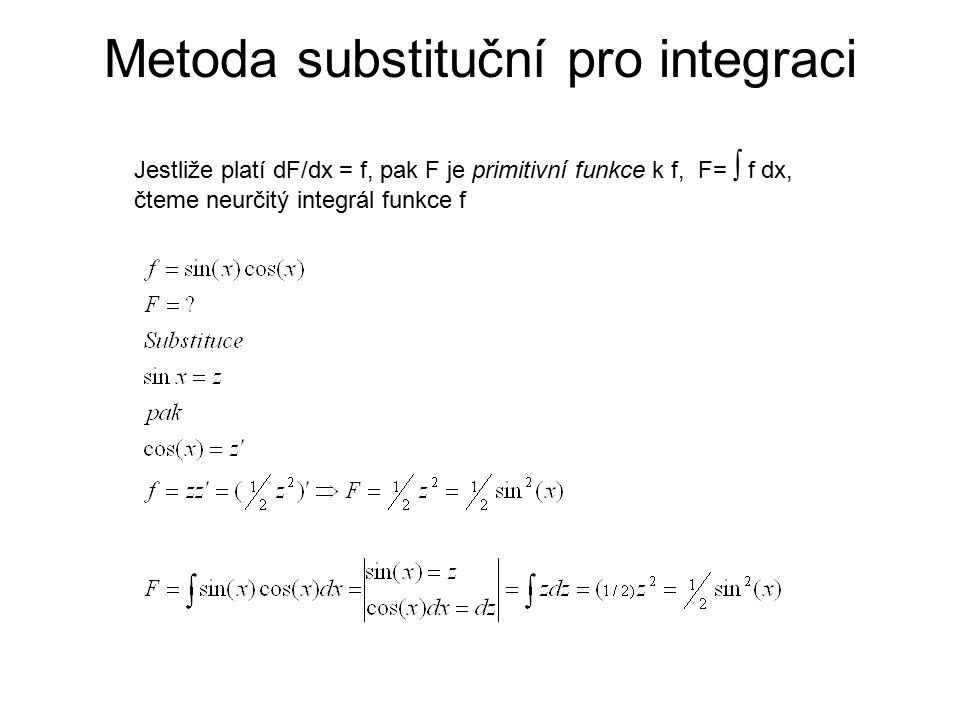 Metoda substituční pro integraci Jestliže platí dF/dx = f, pak F je primitivní funkce k f, F=  f dx, čteme neurčitý integrál funkce f