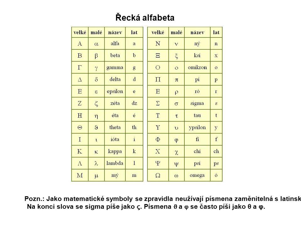 Řecká alfabeta Pozn.: Jako matematické symboly se zpravidla neužívají písmena zaměnitelná s latinskými. Na konci slova se sigma píše jako ς. Písmena ϑ