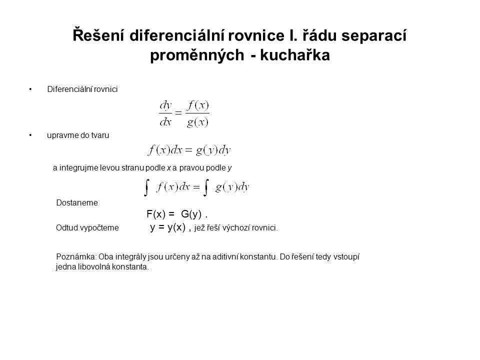 Řešení diferenciální rovnice I. řádu separací proměnných - kuchařka Diferenciální rovnici upravme do tvaru a integrujme levou stranu podle x a pravou