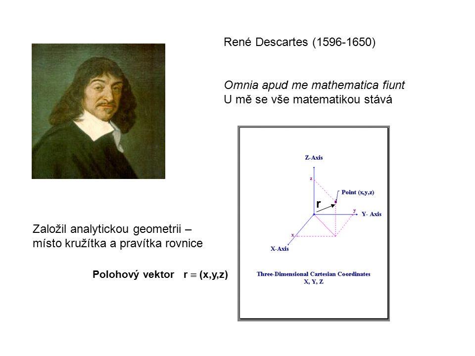 René Descartes (1596-1650) Omnia apud me mathematica fiunt U mě se vše matematikou stává Založil analytickou geometrii – místo kružítka a pravítka rovnice r Polohový vektor r  (x,y,z)