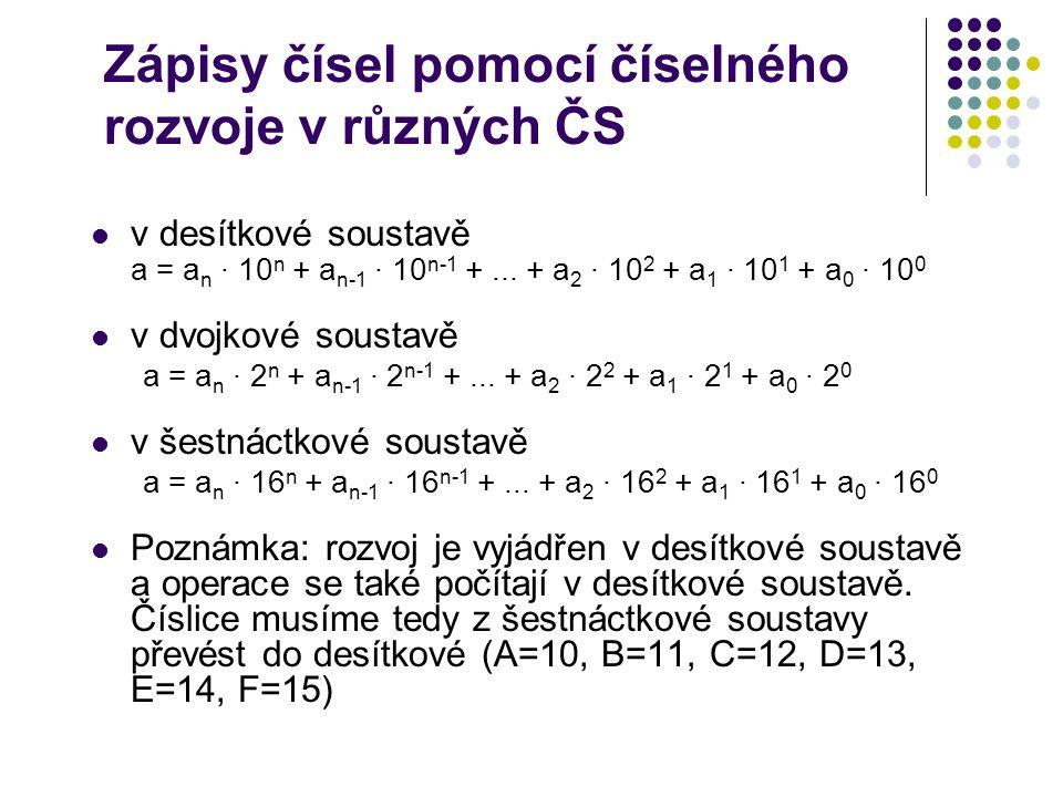 Zápisy čísel pomocí číselného rozvoje v různých ČS v desítkové soustavě a = a n · 10 n + a n-1 · 10 n-1 +... + a 2 · 10 2 + a 1 · 10 1 + a 0 · 10 0 v