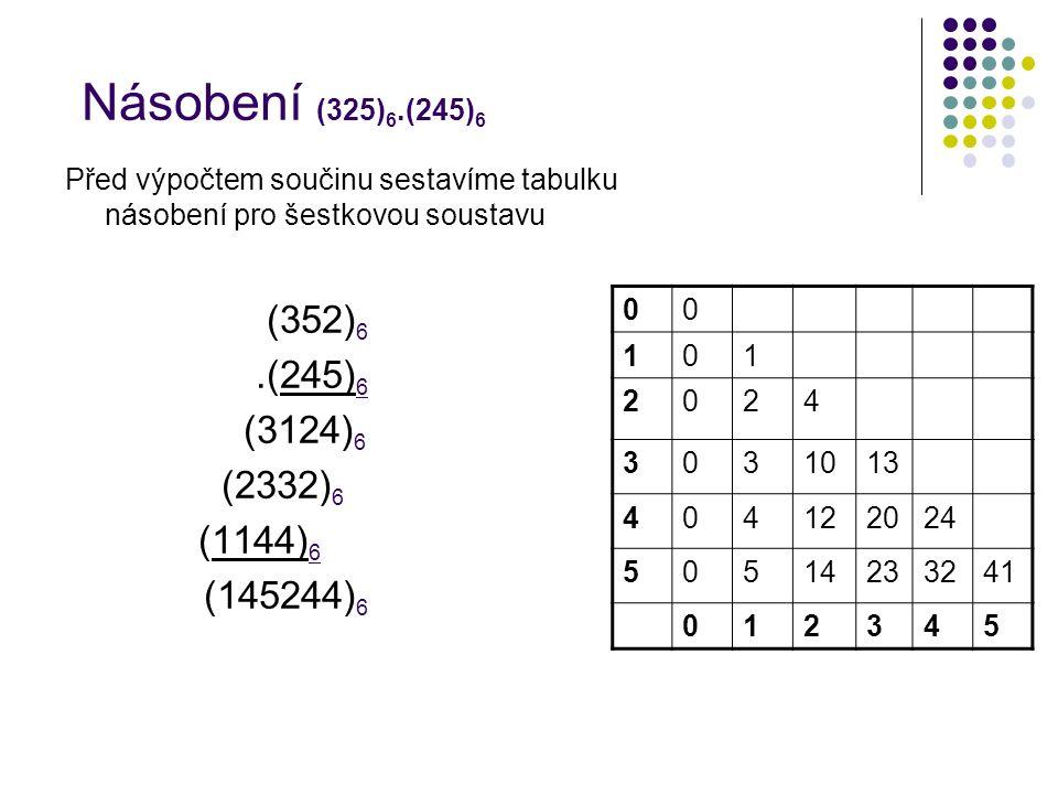 Násobení (325) 6.(245) 6 00 101 2024 3031013 404122024 50514233241 012345 Před výpočtem součinu sestavíme tabulku násobení pro šestkovou soustavu (352) 6.(245) 6 (3124) 6 (2332) 6 (1144) 6 (145244) 6