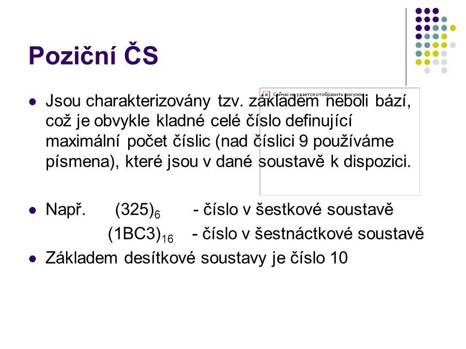 Poziční ČS Jsou charakterizovány tzv.