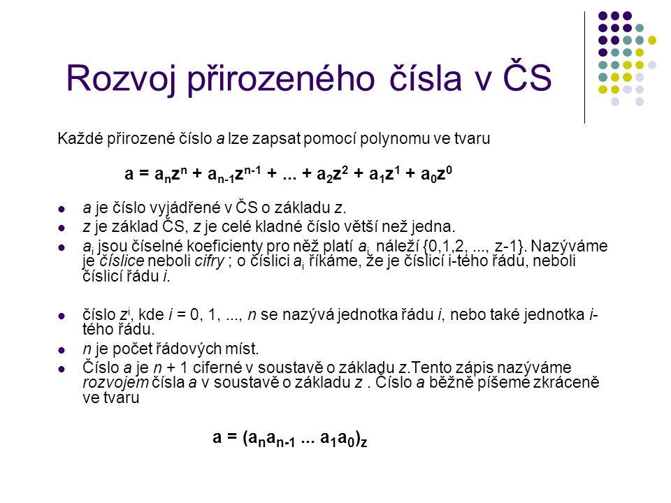 Rozvoj přirozeného čísla v ČS Každé přirozené číslo a lze zapsat pomocí polynomu ve tvaru a = a n z n + a n-1 z n-1 +... + a 2 z 2 + a 1 z 1 + a 0 z 0