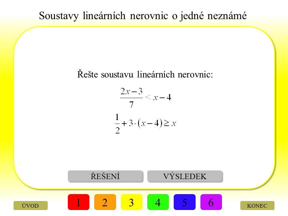 Soustavy lineárních nerovnic o jedné neznámé ZADÁNÍ ŘEŠENÍ 123456 KONECÚVOD