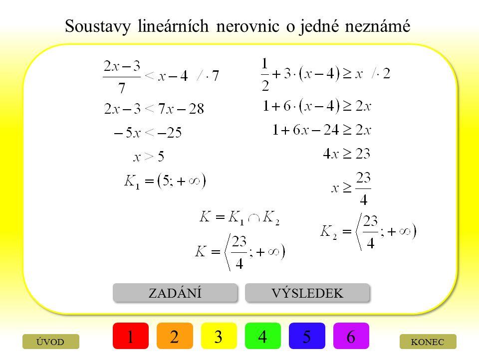 Soustavy lineárních nerovnic o jedné neznámé ŘEŠENÍ VÝSLEDEK 123456 KONEC Řešte soustavu lineárních nerovnic: ÚVOD