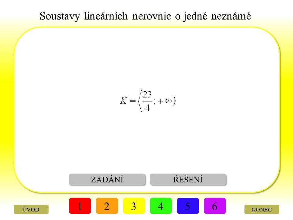 Soustavy lineárních nerovnic o jedné neznámé ZADÁNÍ VÝSLEDEK 123456 KONECÚVOD