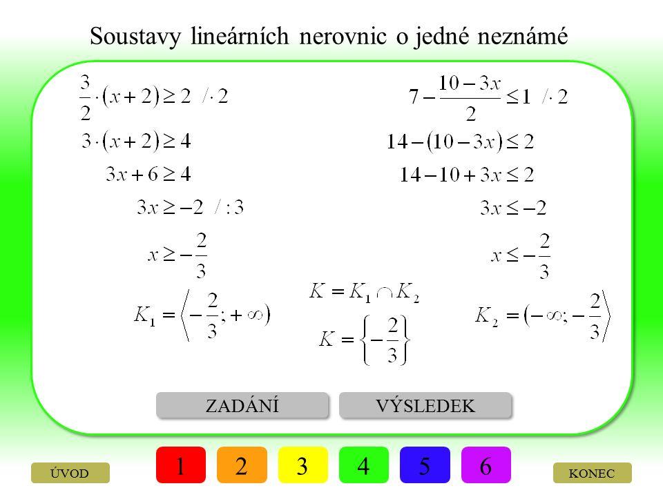 Soustavy lineárních nerovnic o jedné neznámé ŘEŠENÍ VÝSLEDEK 123456 KONEC Vyřešte v R soustavu nerovnic: ÚVOD