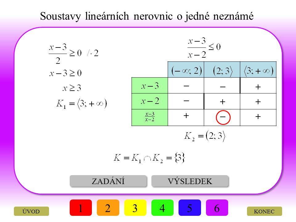 Soustavy lineárních nerovnic o jedné neznámé ŘEŠENÍ VÝSLEDEK 123456 KONEC Vyřešte soustavu nerovnic: ÚVOD