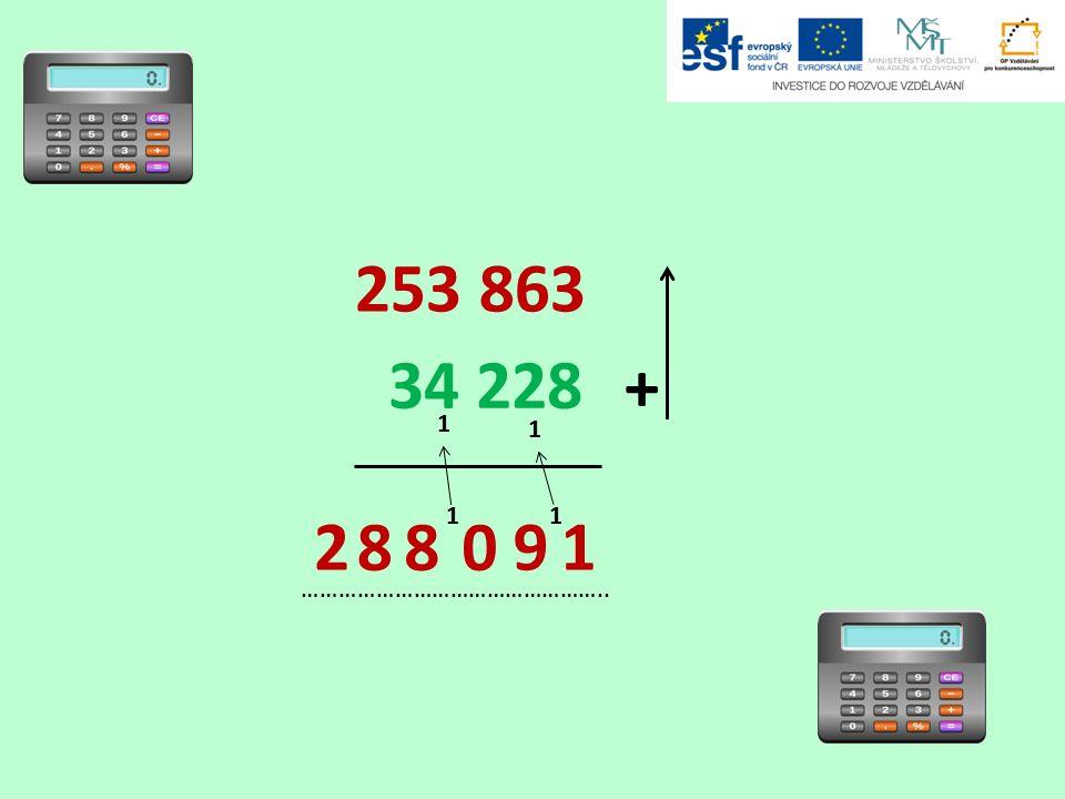 253 863 34 228 + ………………………………………….. 1 1 1 1 1 92 088