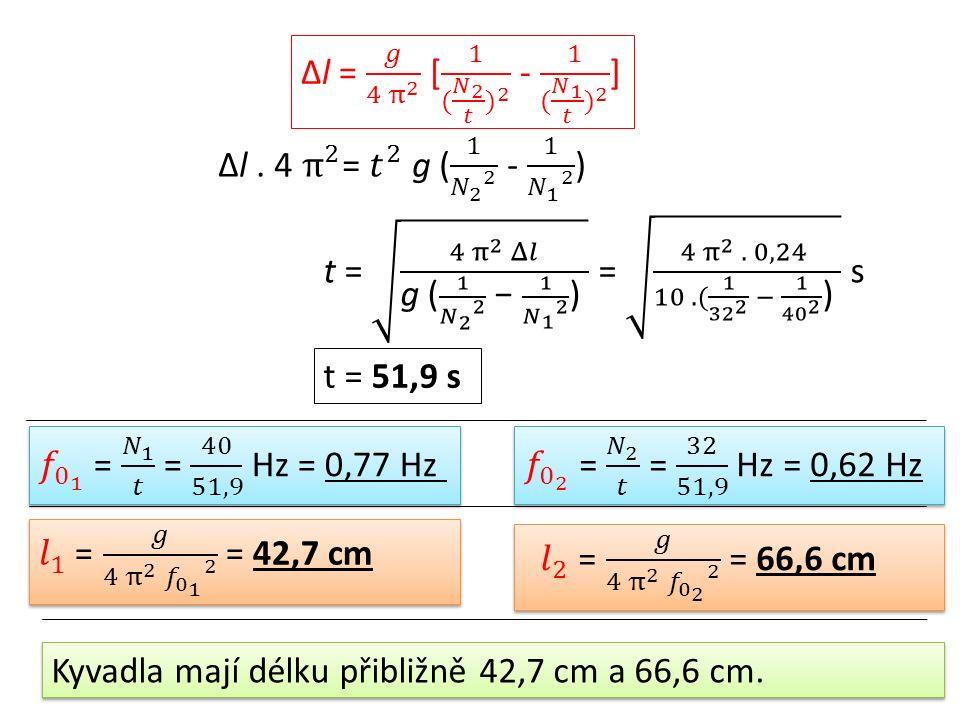 t = 51,9 s Kyvadla mají délku přibližně 42,7 cm a 66,6 cm.