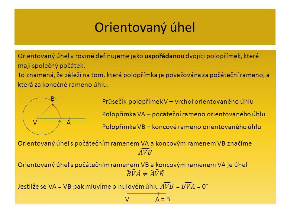 Velikost orientovaného úhlu V B A 1 + α