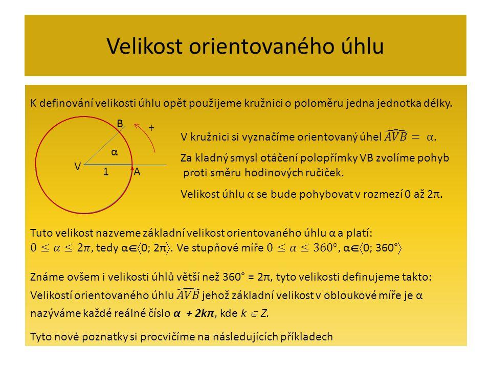 Velikost orientovaného úhlu příklady