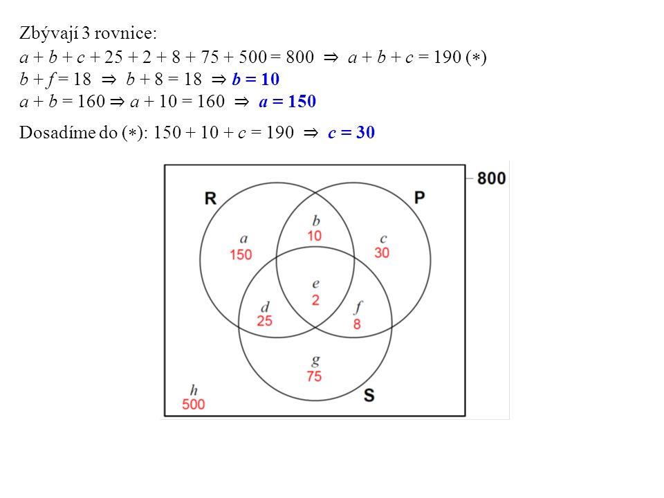 Zbývají 3 rovnice: a + b + c + 25 + 2 + 8 + 75 + 500 = 800 ⇒ a + b + c = 190 (  ) b + f = 18 ⇒ b + 8 = 18 ⇒ b = 10 a + b = 160 ⇒ a + 10 = 160 ⇒ a = 1