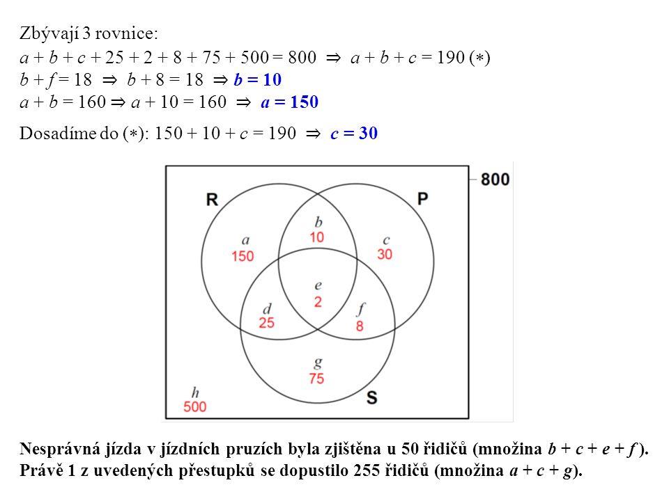 Zbývají 3 rovnice: a + b + c + 25 + 2 + 8 + 75 + 500 = 800 ⇒ a + b + c = 190 (  ) b + f = 18 ⇒ b + 8 = 18 ⇒ b = 10 a + b = 160 ⇒ a + 10 = 160 ⇒ a = 150 Dosadíme do (  ): 150 + 10 + c = 190 ⇒ c = 30 Nesprávná jízda v jízdních pruzích byla zjištěna u 50 řidičů (množina b + c + e + f ).
