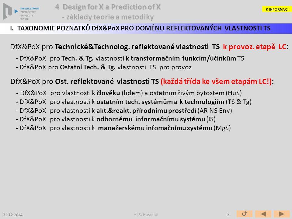 DfX&PoX pro Technické&Technolog. reflektované vlastnosti TS k provoz.
