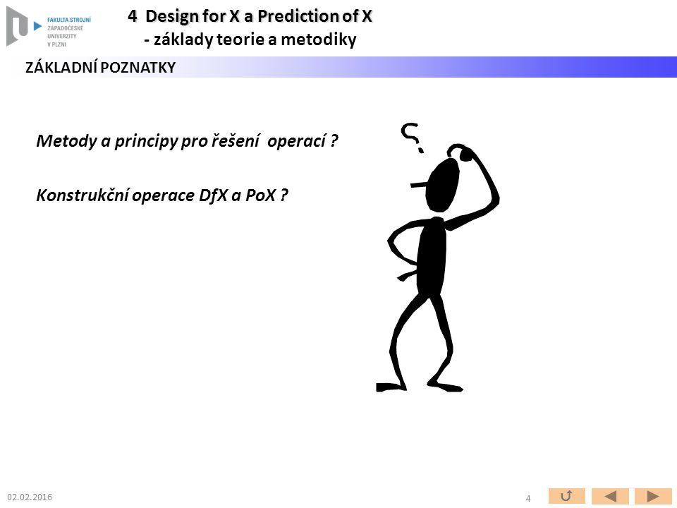 Metody a principy pro řešení operací . Konstrukční operace DfX a PoX .