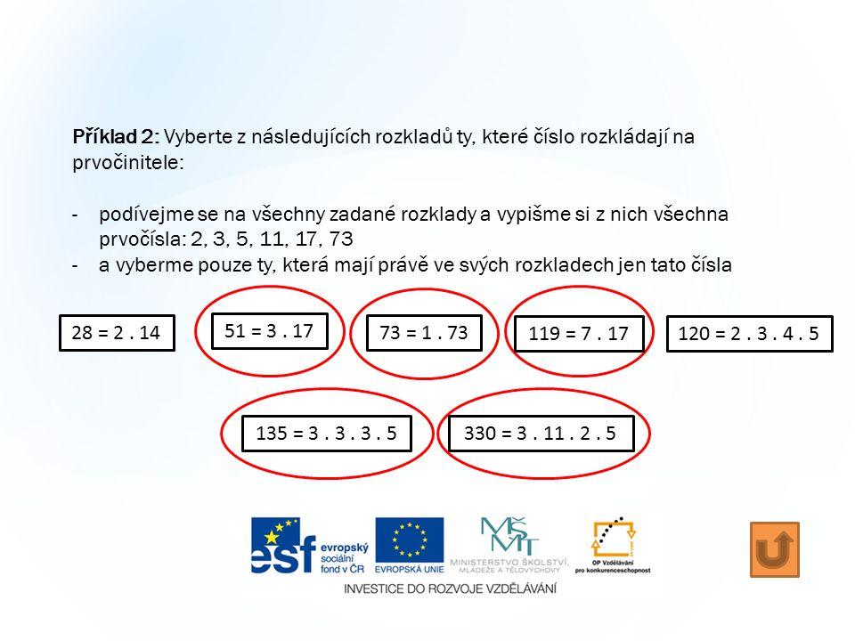 Příklad 2: Vyberte z následujících rozkladů ty, které číslo rozkládají na prvočinitele: -podívejme se na všechny zadané rozklady a vypišme si z nich všechna prvočísla: 2, 3, 5, 11, 17, 73 -a vyberme pouze ty, která mají právě ve svých rozkladech jen tato čísla 28 = 2.