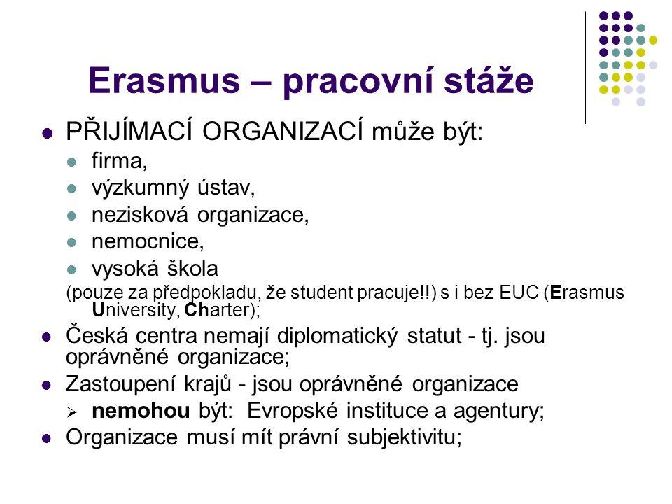 Erasmus – pracovní stáže PŘIJÍMACÍ ORGANIZACÍ může být: firma, výzkumný ústav, nezisková organizace, nemocnice, vysoká škola (pouze za předpokladu, že student pracuje!!) s i bez EUC (Erasmus University, Charter); Česká centra nemají diplomatický statut - tj.