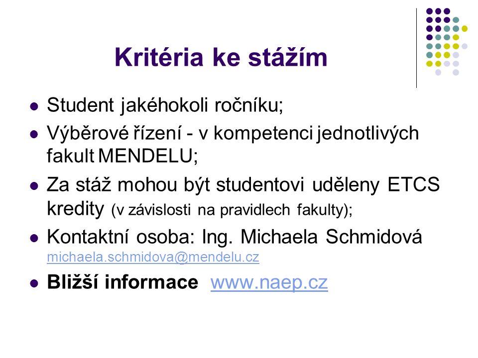 Kritéria ke stážím Student jakéhokoli ročníku; Výběrové řízení - v kompetenci jednotlivých fakult MENDELU; Za stáž mohou být studentovi uděleny ETCS kredity (v závislosti na pravidlech fakulty); Kontaktní osoba: Ing.