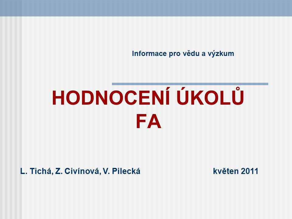 HODNOCENÍ ÚKOLŮ FA Informace pro vědu a výzkum L. Tichá, Z. Civínová, V. Pilecká květen 2011