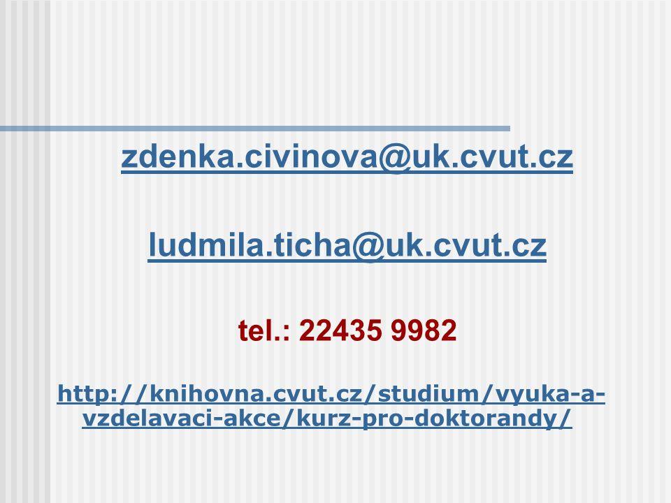 zdenka.civinova@uk.cvut.cz ludmila.ticha@uk.cvut.cz tel.: 22435 9982 http://knihovna.cvut.cz/studium/vyuka-a- vzdelavaci-akce/kurz-pro-doktorandy/
