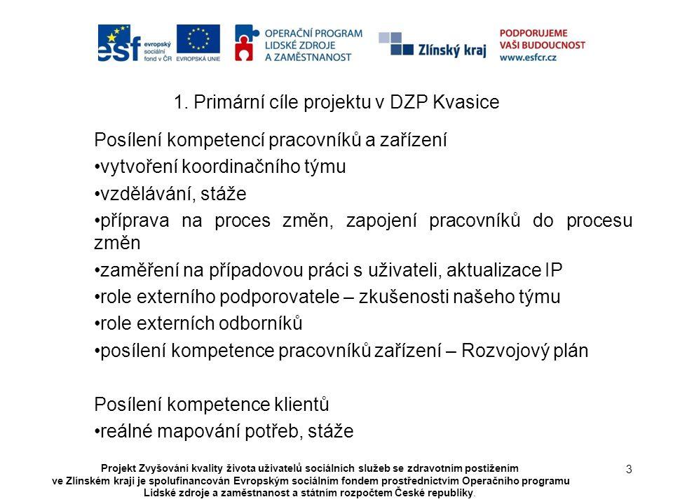 1. Primární cíle projektu v DZP Kvasice Posílení kompetencí pracovníků a zařízení vytvoření koordinačního týmu vzdělávání, stáže příprava na proces zm
