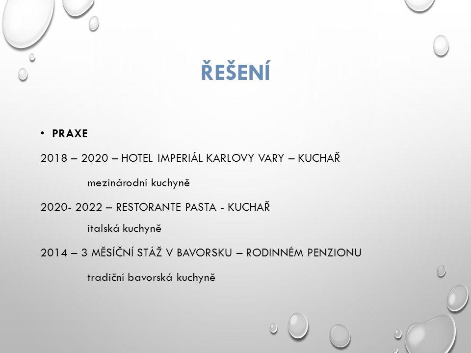 ŘEŠENÍ PRAXE 2018 – 2020 – HOTEL IMPERIÁL KARLOVY VARY – KUCHAŘ mezinárodní kuchyně 2020- 2022 – RESTORANTE PASTA - KUCHAŘ italská kuchyně 2014 – 3 MĚSÍČNÍ STÁŽ V BAVORSKU – RODINNÉM PENZIONU tradiční bavorská kuchyně