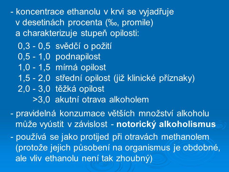 - koncentrace ethanolu v krvi se vyjadřuje v desetinách procenta (‰, promile) a charakterizuje stupeň opilosti: 0,3 - 0,5 svědčí o požití 0,5 - 1,0 podnapilost 1,0 - 1,5 mírná opilost 1,5 - 2,0 střední opilost (již klinické příznaky) 2,0 - 3,0 těžká opilost >3,0 akutní otrava alkoholem - pravidelná konzumace větších množství alkoholu může vyústit v závislost - notorický alkoholismus - používá se jako protijed při otravách methanolem (protože jejich působení na organismus je obdobné, ale vliv ethanolu není tak zhoubný)