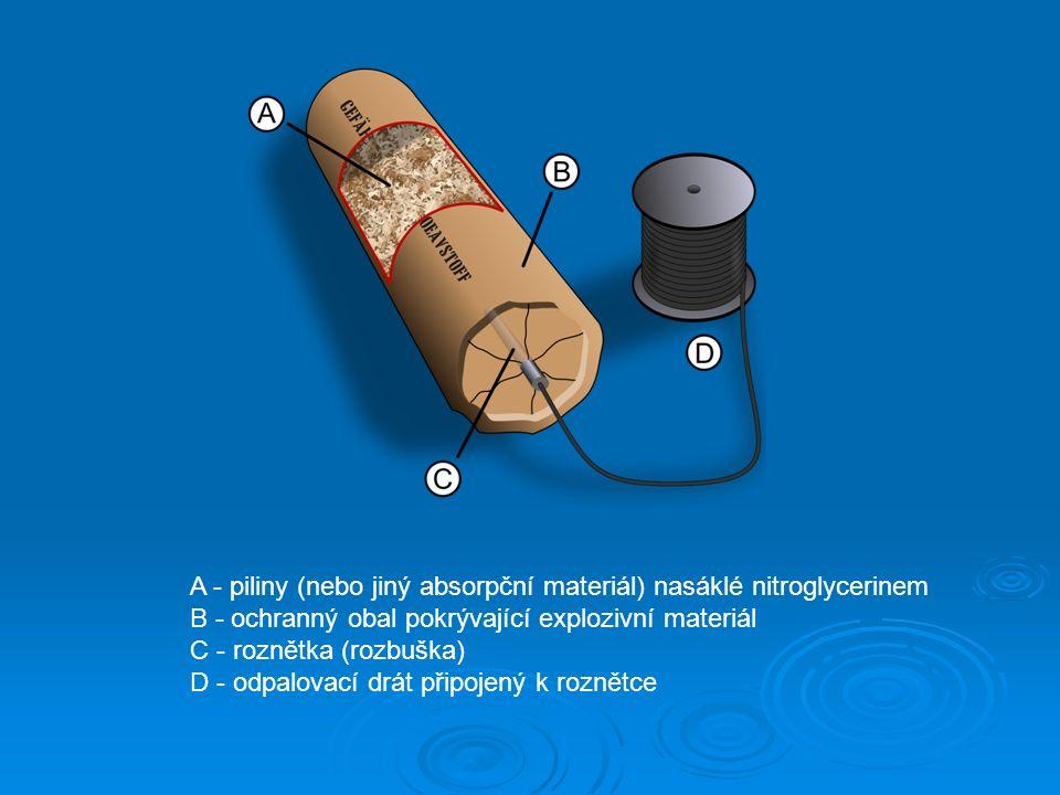 A - piliny (nebo jiný absorpční materiál) nasáklé nitroglycerinem B - ochranný obal pokrývající explozivní materiál C - roznětka (rozbuška) D - odpalovací drát připojený k roznětce