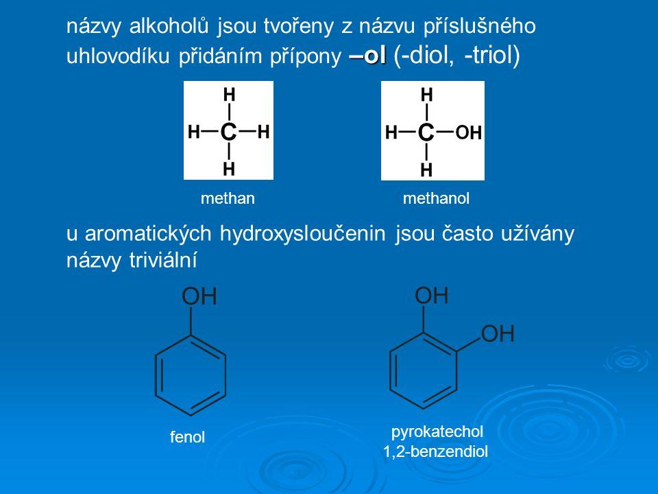 methan –ol názvy alkoholů jsou tvořeny z názvu příslušného uhlovodíku přidáním přípony –ol (-diol, -triol) methanol u aromatických hydroxysloučenin jsou často užívány názvy triviální fenol pyrokatechol 1,2-benzendiol