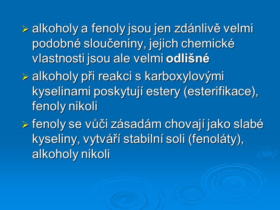  alkoholy a fenoly jsou jen zdánlivě velmi podobné sloučeniny, jejich chemické vlastnosti jsou ale velmi odlišné  alkoholy při reakci s karboxylovými kyselinami poskytují estery (esterifikace), fenoly nikoli  fenoly se vůči zásadám chovají jako slabé kyseliny, vytváří stabilní soli (fenoláty), alkoholy nikoli