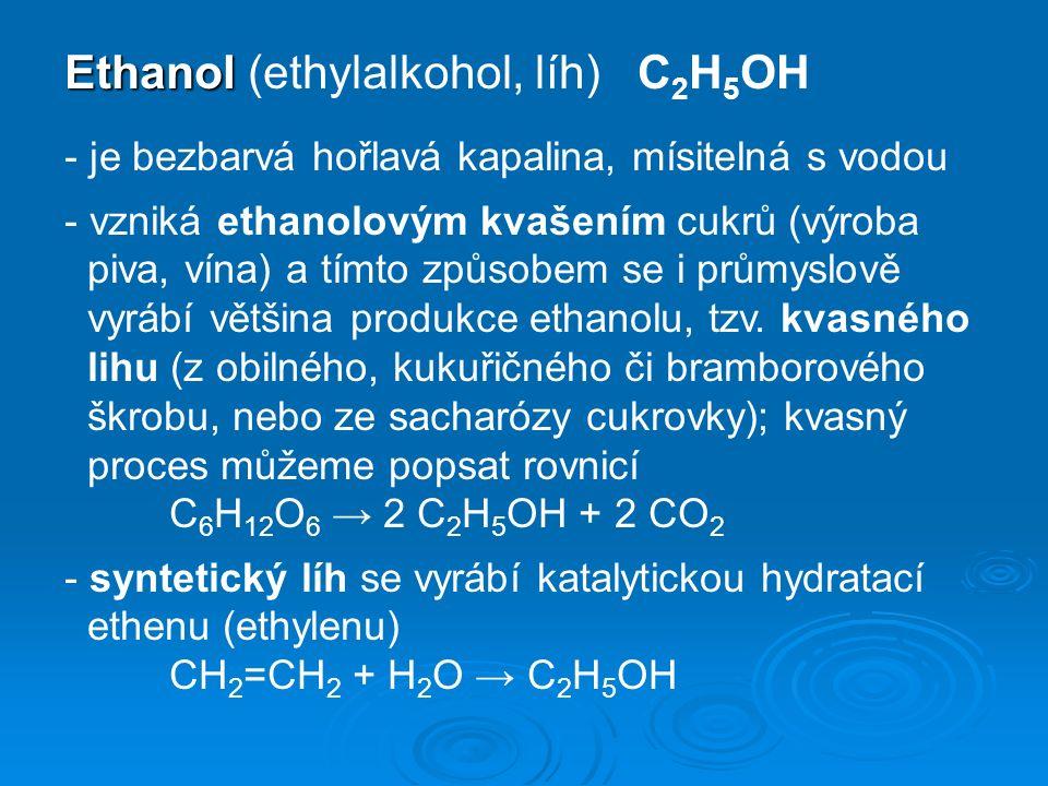 - používá se jako rozpouštědlo ( lihové fixy ), jako palivo i jako aditivum do paliva spalovacích motorů pro zlepšení výkonu a vázání vody ( Velfobin ), jako dezinfekční prostředek ( samotný nebo jako jodová tinktura ), jako součást čistících prostředků ( Okena ) i kosmetiky ( toaletní vody, parfémy ) - široké použití nachází jako výchozí surovina v chemickém průmyslu k výrobě mnoha orga- nických sloučenin - nejznámější je ale jeho použití pro výrobu alkoholických nápojů, při níž se musí používat výhradně líh kvasný