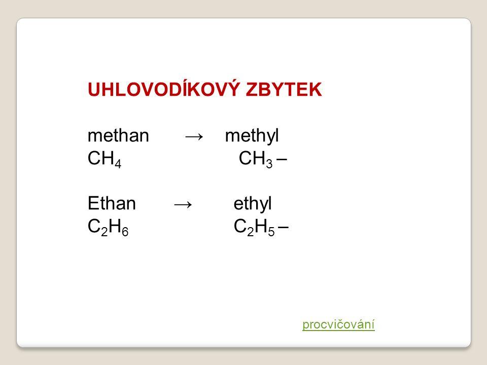 UHLOVODÍKOVÝ ZBYTEK methan → methyl CH 4 CH 3 – Ethan → ethyl C 2 H 6 C 2 H 5 – procvičování