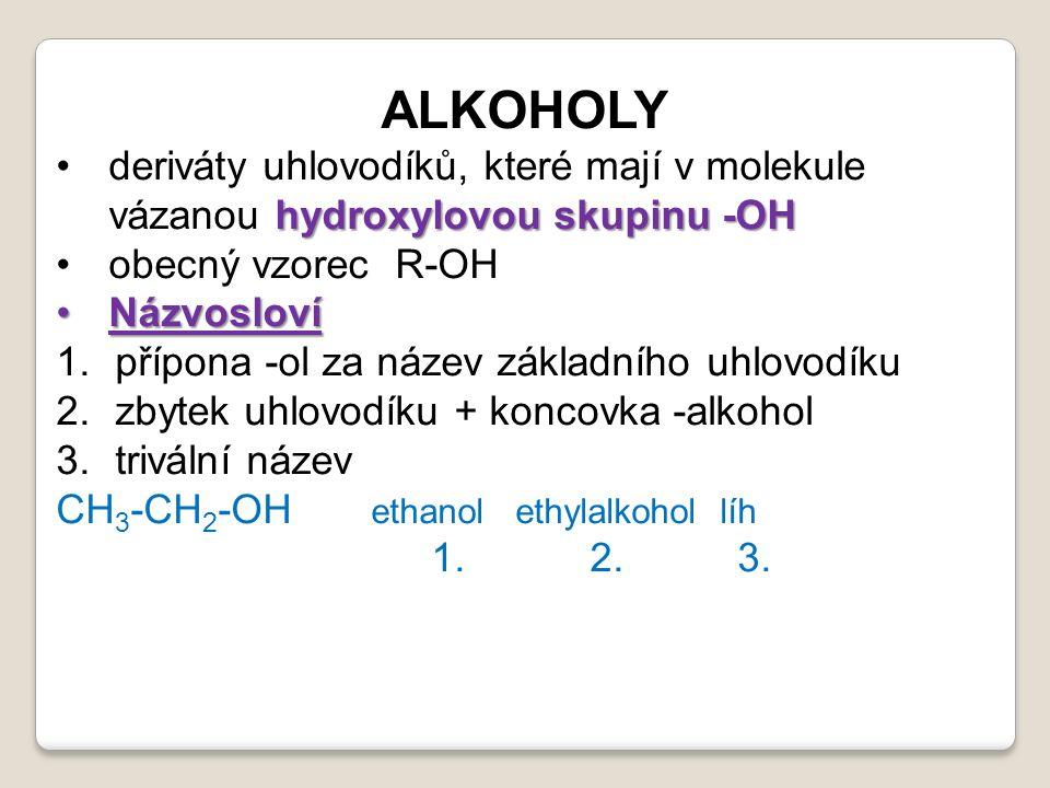 ALKOHOLY hydroxylovou skupinu -OHderiváty uhlovodíků, které mají v molekule vázanou hydroxylovou skupinu -OH obecný vzorec R-OH NázvoslovíNázvosloví 1.přípona -ol za název základního uhlovodíku 2.zbytek uhlovodíku + koncovka -alkohol 3.trivální název CH 3 -CH 2 -OH ethanol ethylalkohol líh 1.