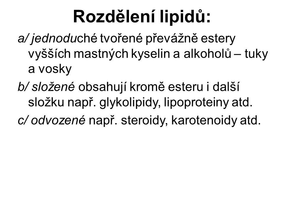 Většina jednoduchých lipidů patří k esterům mastných kyselin a glycerolu – acylglyceroly Pro tyto látky se používá více název tuky a oleje Tuky obsahují ve svých molekulách více nasycených mastných kyselin (jsou proto tuhé nebo mazlavé) Oleje obsahují ve svých molekulách více nenasycených mastných kyselin (jsou proto tekuté) Jednoduché lipidy