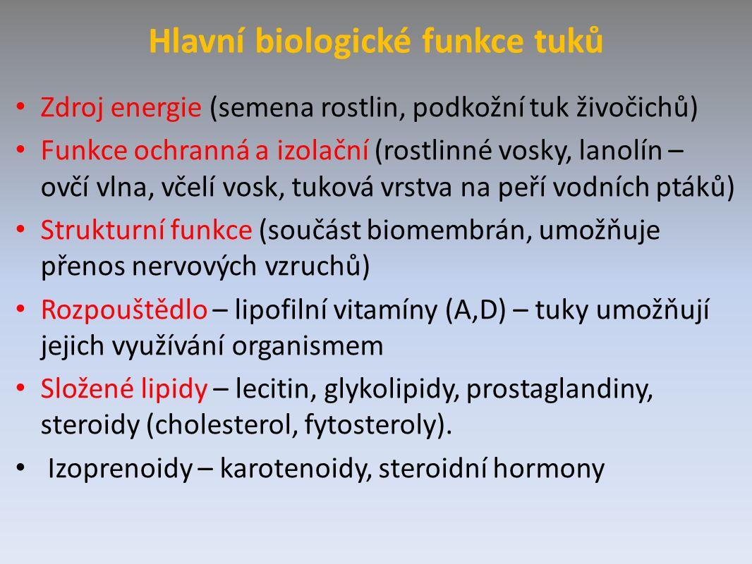 Hlavní biologické funkce tuků Zdroj energie (semena rostlin, podkožní tuk živočichů) Funkce ochranná a izolační (rostlinné vosky, lanolín – ovčí vlna, včelí vosk, tuková vrstva na peří vodních ptáků) Strukturní funkce (součást biomembrán, umožňuje přenos nervových vzruchů) Rozpouštědlo – lipofilní vitamíny (A,D) – tuky umožňují jejich využívání organismem Složené lipidy – lecitin, glykolipidy, prostaglandiny, steroidy (cholesterol, fytosteroly).