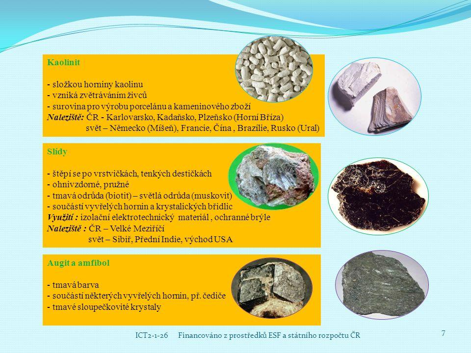 7 ICT2-1-26 Financováno z prostředků ESF a státního rozpočtu ČR Kaolinit - složkou horniny kaolinu - vzniká zvětráváním živců - surovina pro výrobu po