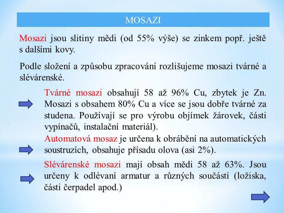 Mosazi jsou slitiny mědi (od 55% výše) se zinkem popř.