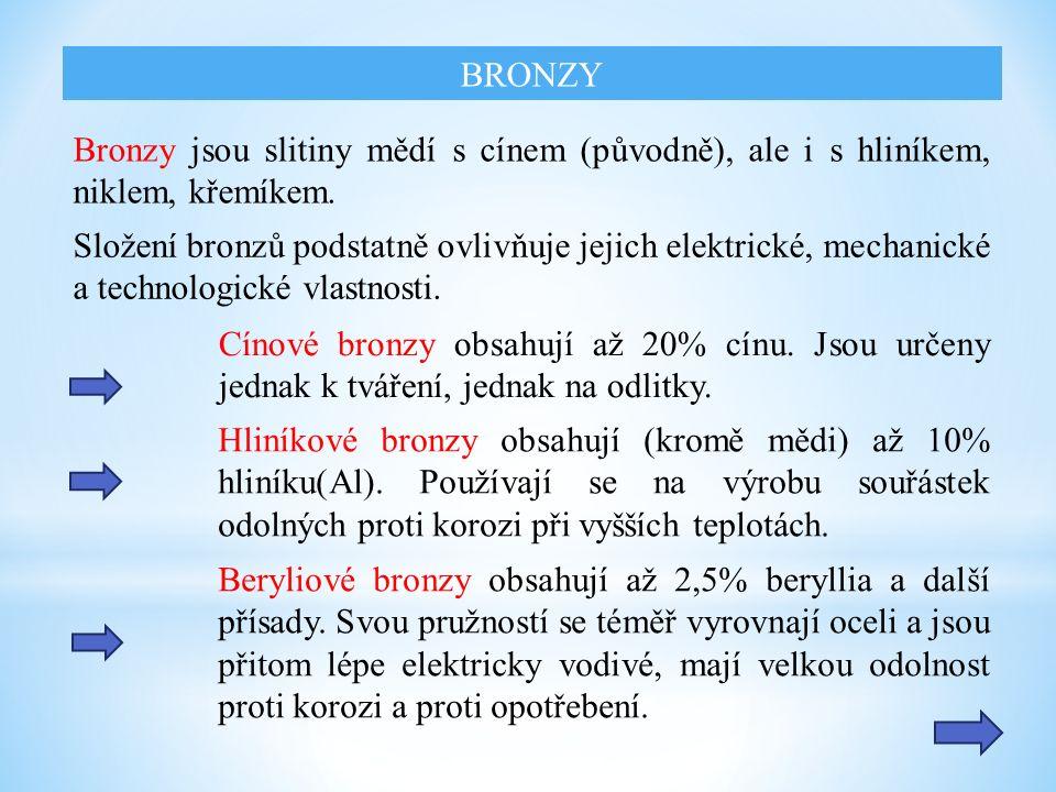 Bronzy jsou slitiny mědí s cínem (původně), ale i s hliníkem, niklem, křemíkem.