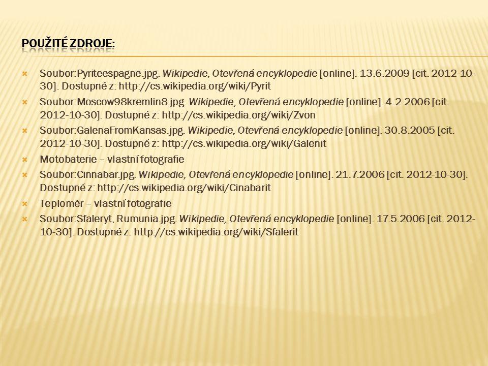  Soubor:Pyriteespagne.jpg. Wikipedie, Otevřená encyklopedie [online]. 13.6.2009 [cit. 2012-10- 30]. Dostupné z: http://cs.wikipedia.org/wiki/Pyrit 