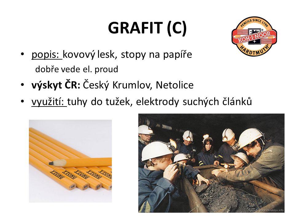 GRAFIT (C) popis: kovový lesk, stopy na papíře dobře vede el.