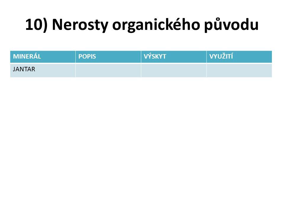 10) Nerosty organického původu MINERÁLPOPISVÝSKYTVYUŽITÍ JANTAR