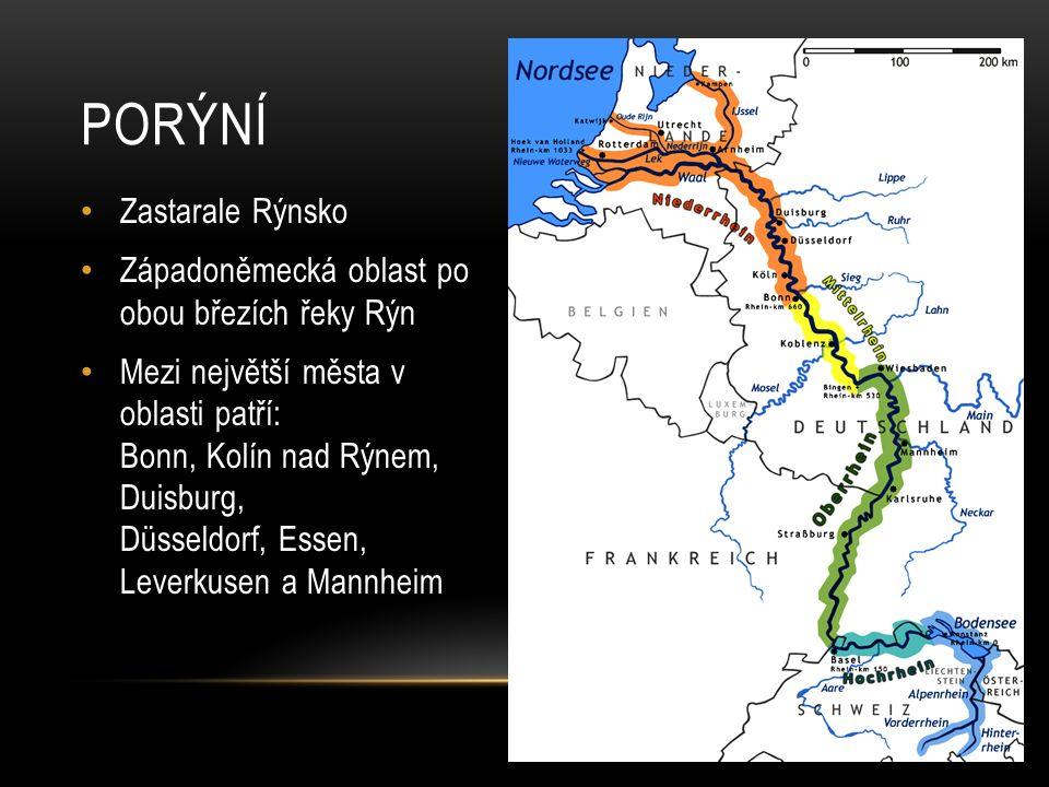 RÝN Pramení v Alpách (ve Švýcarsku) Ústí do Severního moře (v Nizozemsku) Celková délka řeky je 1230 km Povodí má 224 400 km² Na řece je široce rozvinutá lodní doprava Je zde mnoho vodních elektráren